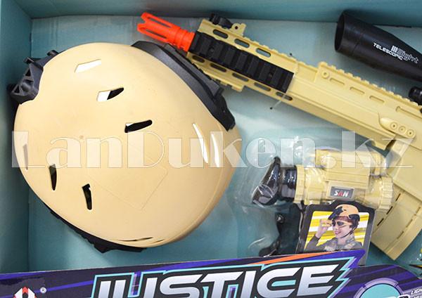 """Игровой набор военного """"Justice Force"""" песочный (автомат, шлем, очки и др) - фото 2"""