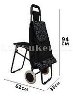 Складная сумка тележка + стульчик 2 в 1 на колесах черная с принтом