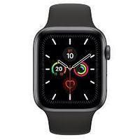 Apple Watch Series 5, GPS, корпус 44 мм, алюминий цвета «серый космос», спортивный ремешок чёрного цвета,