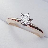 Золотое кольцо с бриллиантом 0,35Сt SI2/G, фото 1