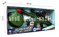 """Игровой набор военного """"Justice Force"""" зеленый (автомат, шлем, очки и др)"""