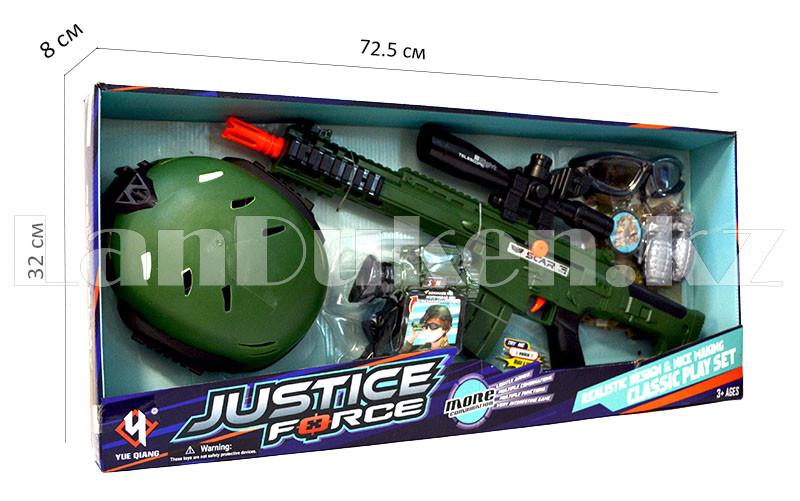 """Игровой набор военного """"Justice Force"""" зеленый (автомат, шлем, очки и др) - фото 1"""