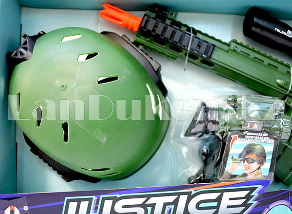 """Игровой набор военного """"Justice Force"""" зеленый (автомат, шлем, очки и др) - фото 2"""