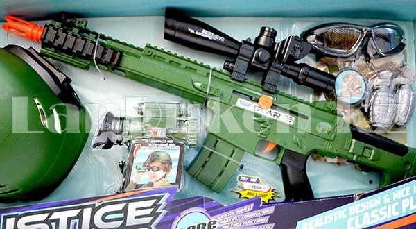 """Игровой набор военного """"Justice Force"""" зеленый (автомат, шлем, очки и др) - фото 3"""
