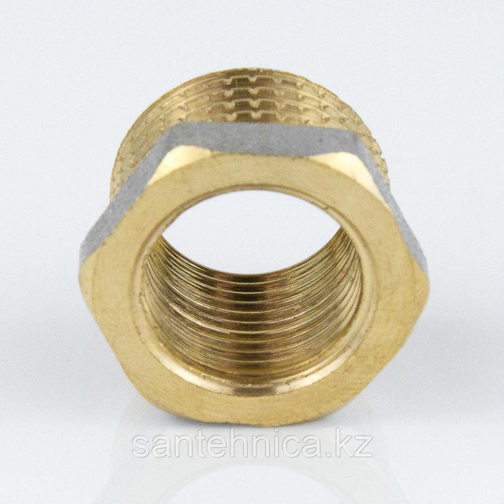 """Футорка латунь никель Ду 20х15 (3/4""""х1/2"""") наруж./внутр."""