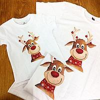 Семейные футболки на новый год. Прямая печать, А4 формат нанесения