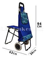 Складная сумка тележка + стульчик 2 в 1 на колесах синяя с принтом