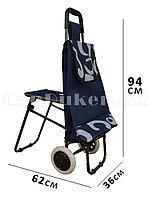 Складная сумка тележка + стульчик 2 в 1 на колесах темно-синяя с принтом