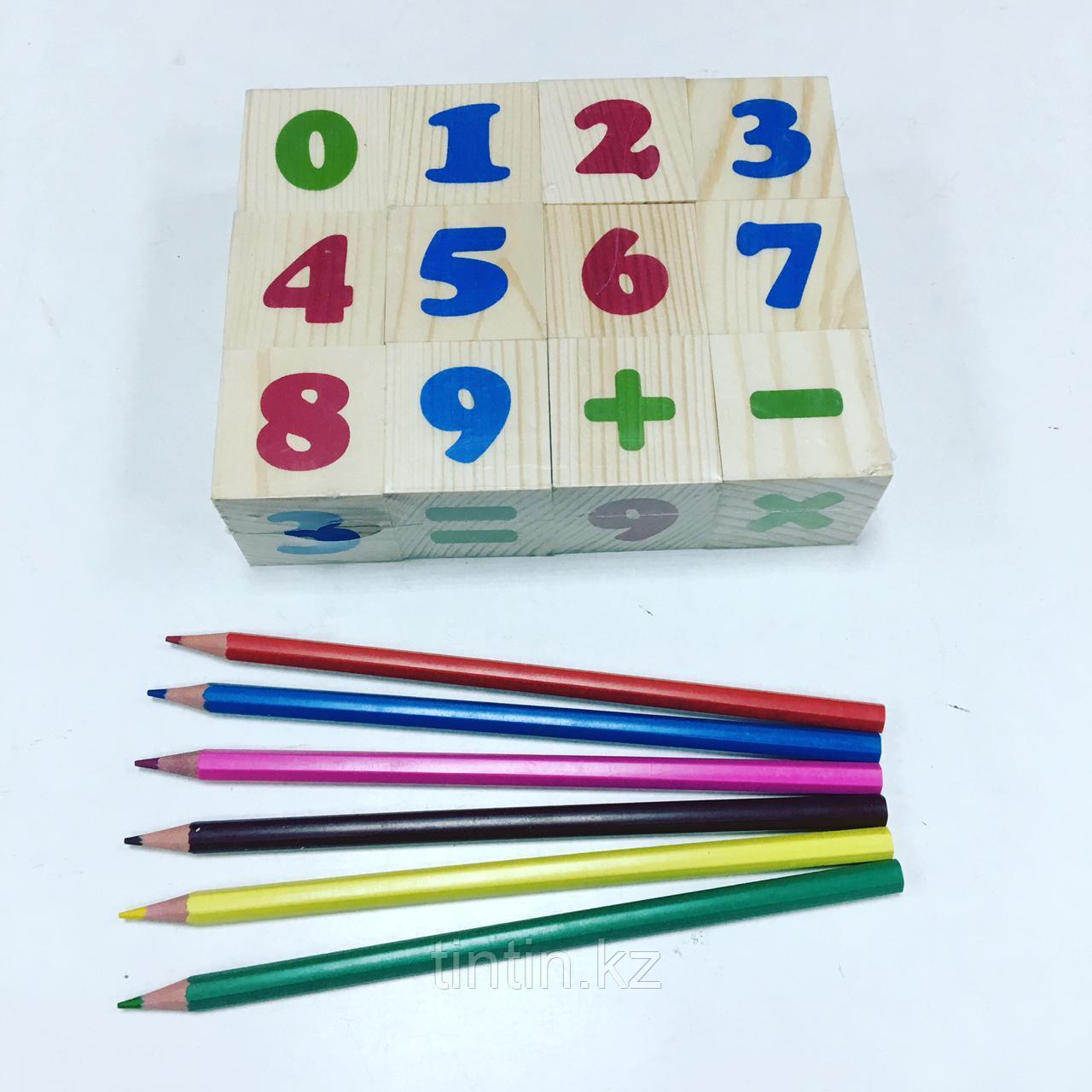 Деревянные кубики - Цифры (12шт)