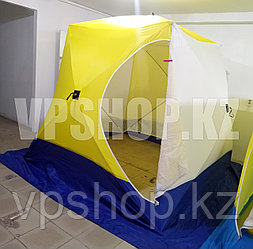Утепленная палатка СТЭК КУБ-3, 3-х слойная палатка для зимней рыбалки на синтепоном 220х220х200