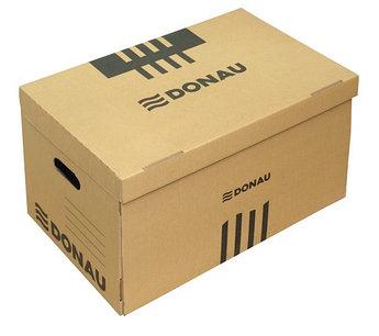 Короб архивный, 522x351x305мм, картонный, коричневый Donau