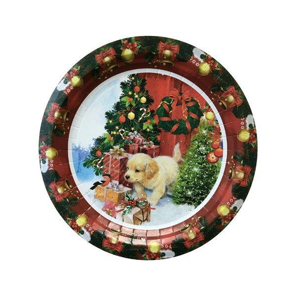"Тарелка d 230мм, ""Рождественский песик"", картон, 6 шт"