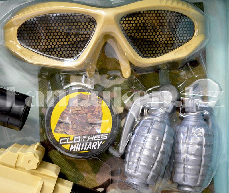 """Игровой набор военного """"Justice Force"""" песочный (автомат, шлем, очки и др) - фото 6"""