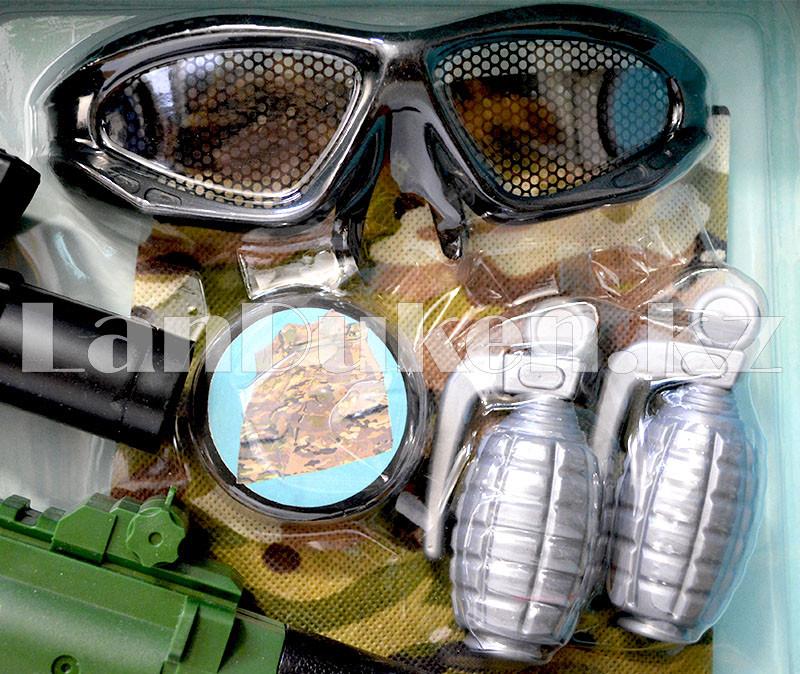 """Игровой набор военного """"Justice Force"""" зеленый (автомат, шлем, очки и др) - фото 4"""