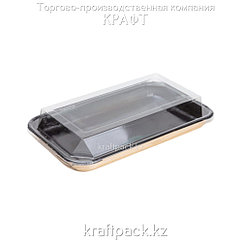 Упаковка для суши с прозрачной крышкой BLACK EDITION 205*115*45 DoEco (300/50)