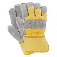 Перчатки спилковые комбинир. усиленные,утепленные(зимние) РУССКИЕ ЛЬВЫ (рабочие зимние перчатки)