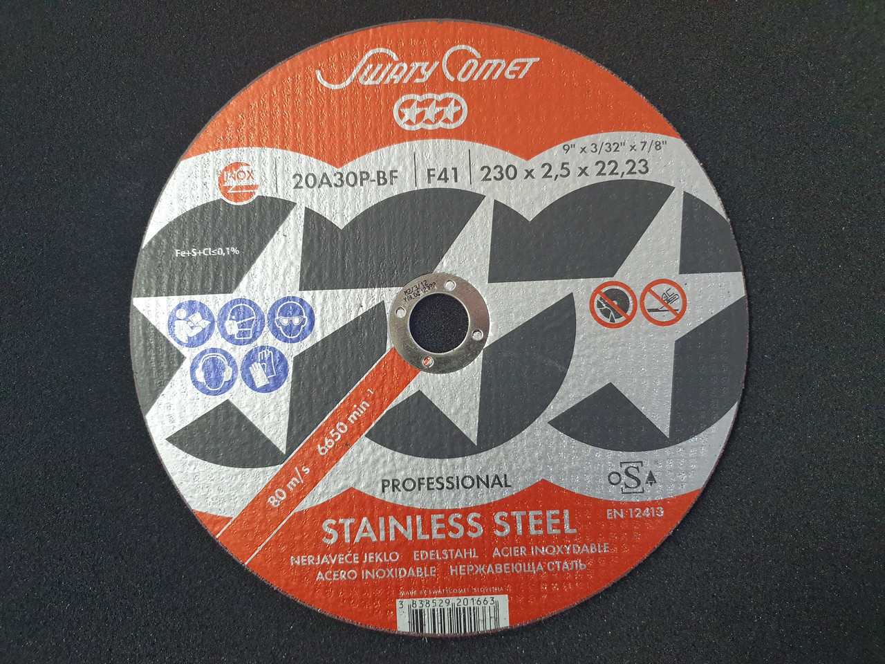 Круг отрезной Inox&Metal 230 х 2,5 х 22,23 SwatyComet 20A30P-BF (Weiler Abrasives, Slovenija)