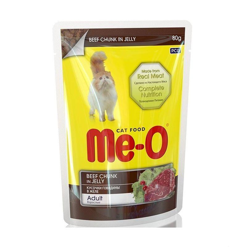 Me-O Влажный корм для кошек кусочки говядины в желе
