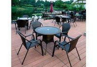 Обеденная группа, комплект, стол + четыре стула, искусственный ротанг