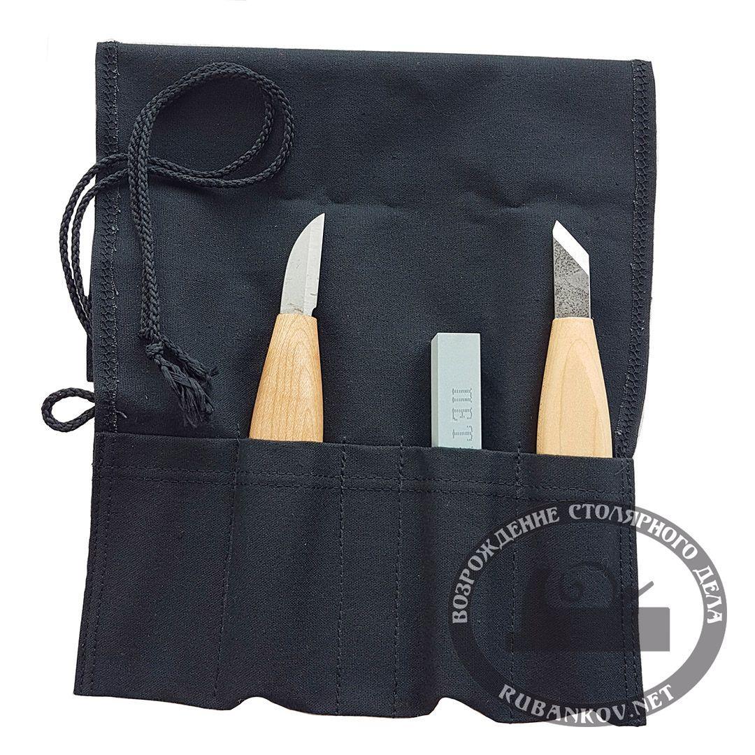 Набор для резьбы по дереву, ПЕТРОГРАДЪ, N9, 2 ножа + заточной абразив
