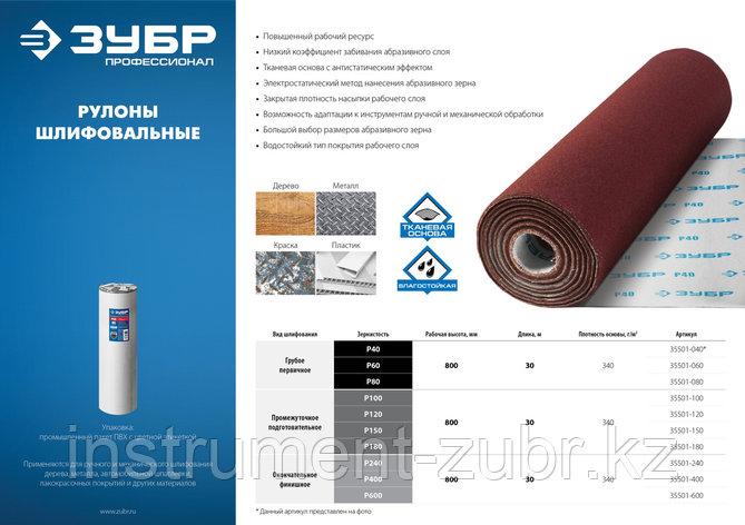 Рулон шлифовальный Р400, 800 мм, на тканевой основе, водостойкий, 30 м, ЗУБР Профессионал, фото 2