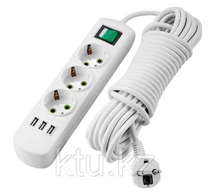 Удлинитель с/з 3 входа 5 метров с USB выключателем