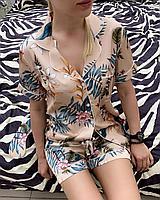 Пижама с коротким рукавом и шортиками с растительным принтом