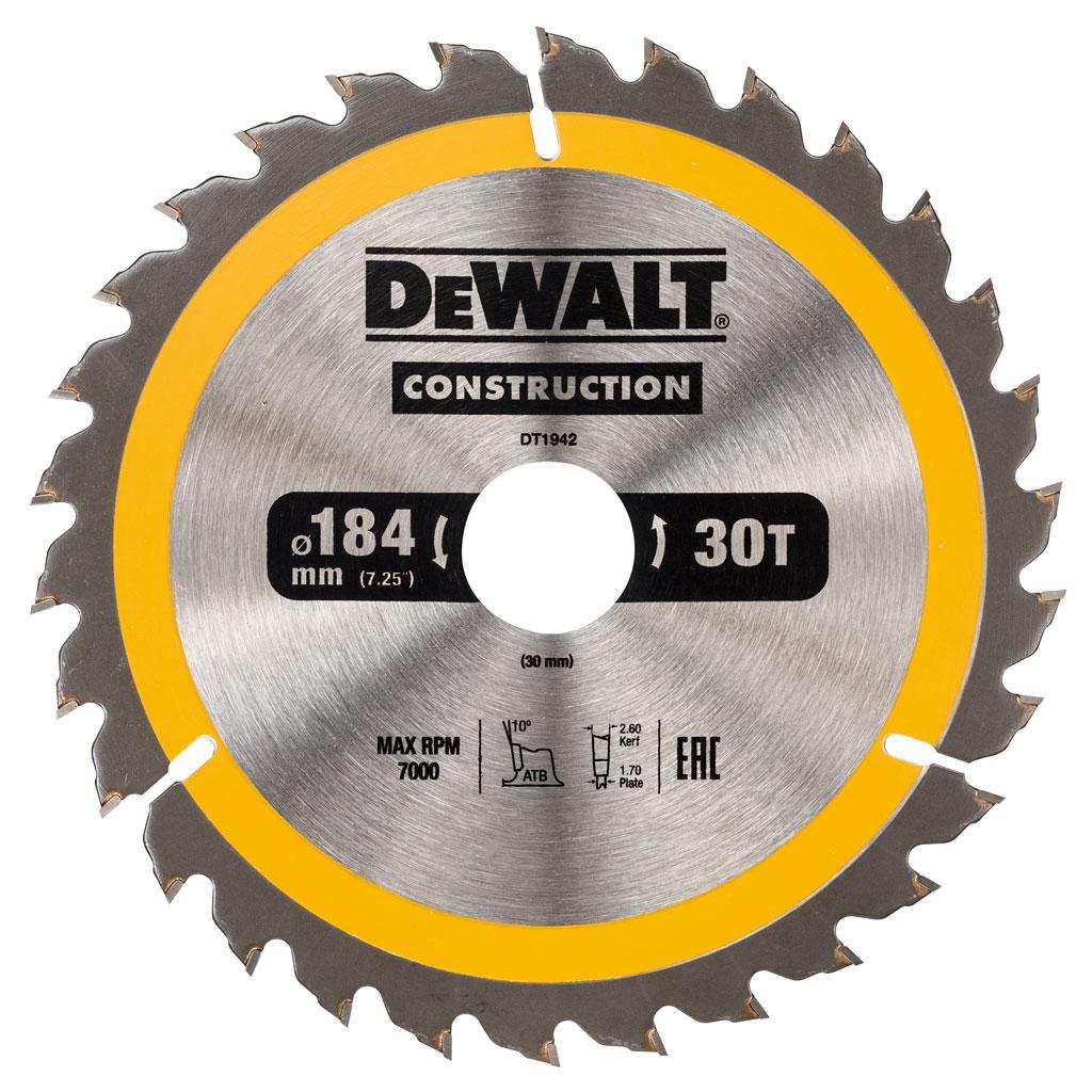 Пильный диск DeWalt CONSTRUCT 184/30 1.8 30 ATB +10°