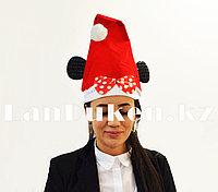 Новогодняя шапка красная с ушами мышки и помпоном/бантиком