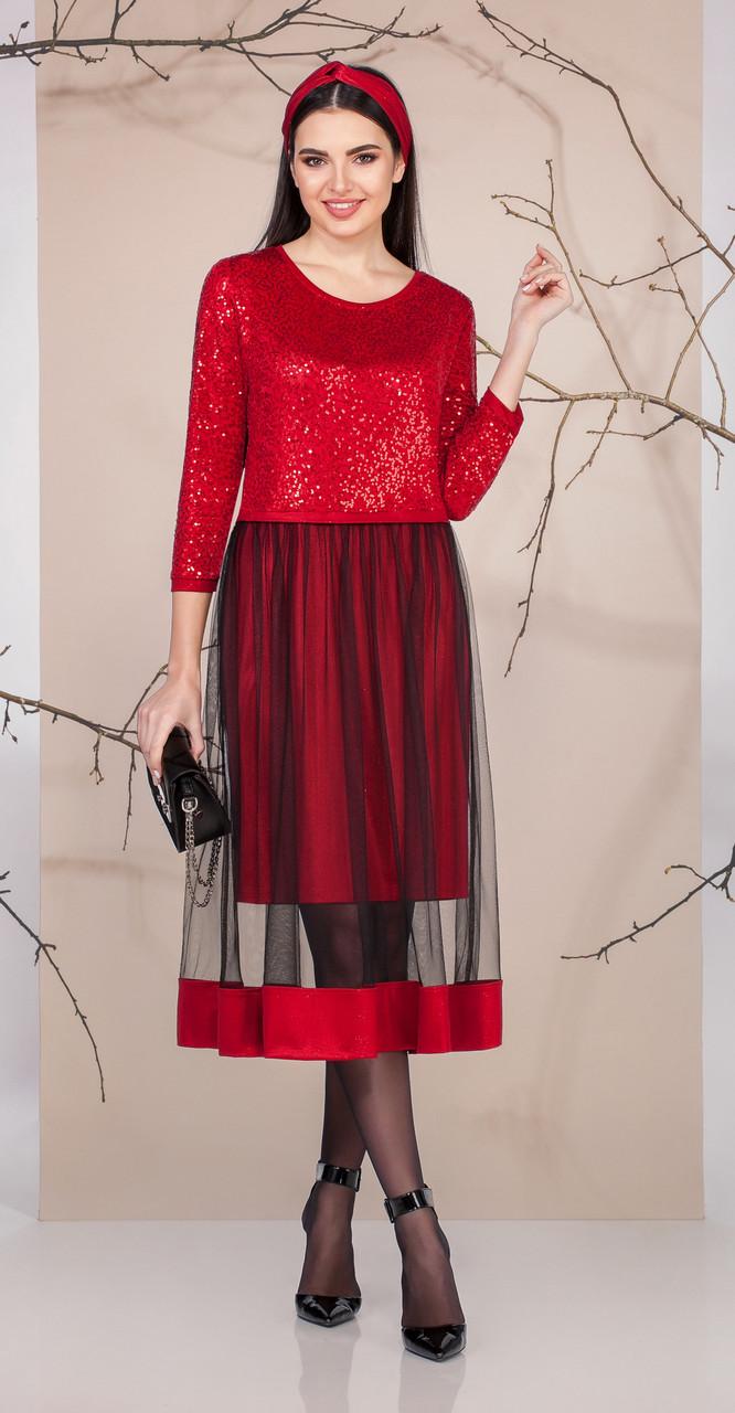 Платье Ивелта плюс-1669, красный, 46