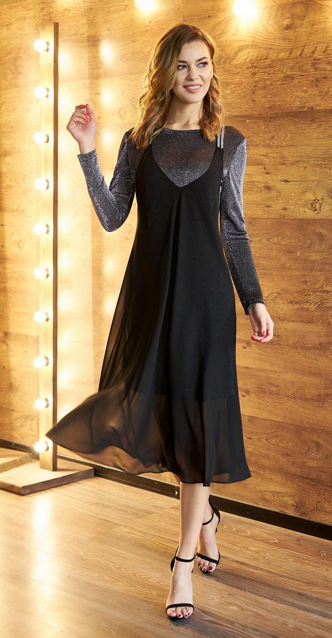 Платье Fantazia Mod-3586, серебристый с чёрным, 46