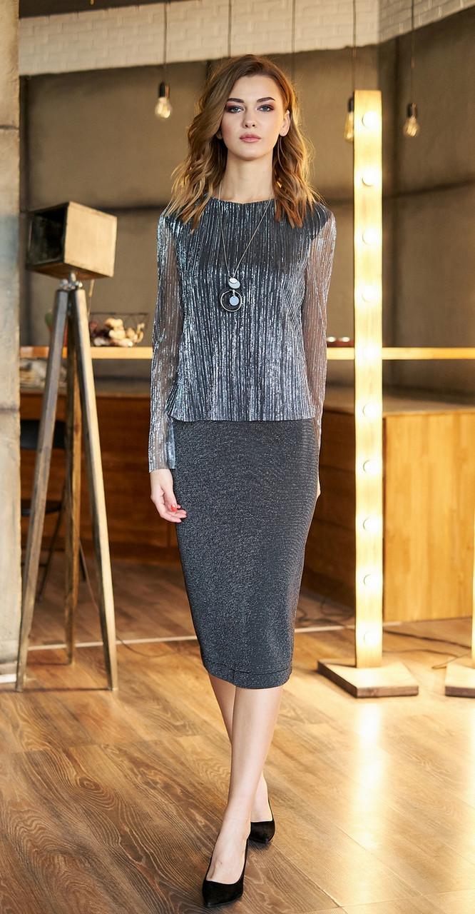Платье Fantazia Mod-3611, серо-серебристый, 50