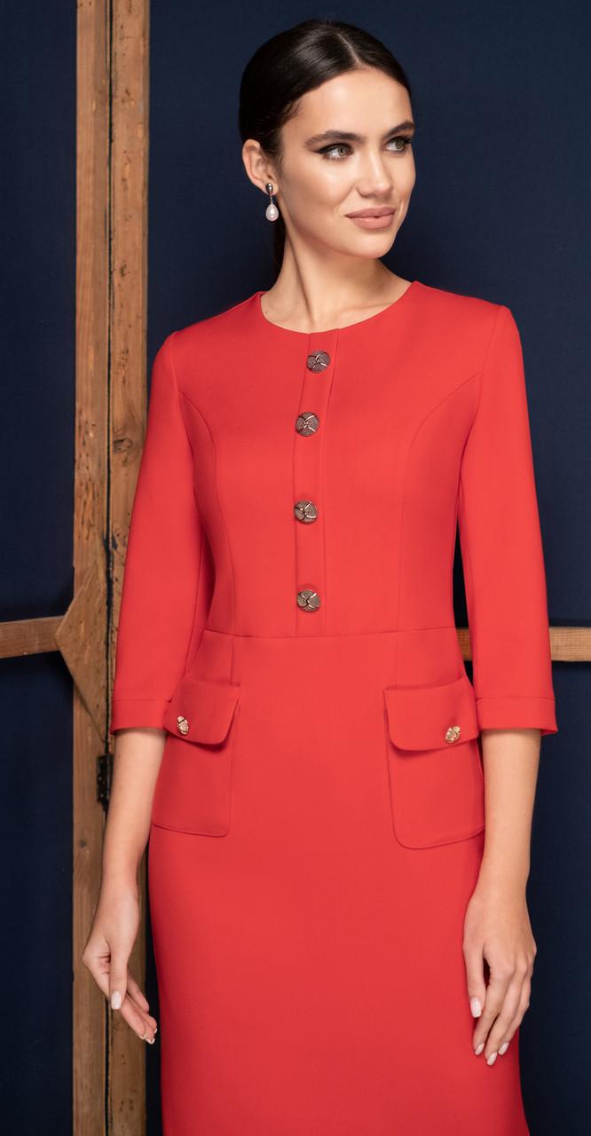 Платье Юрс-19-218-1, красный, 52