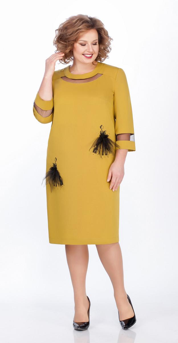 Платье Теллура-Л-1474, горчица, 54