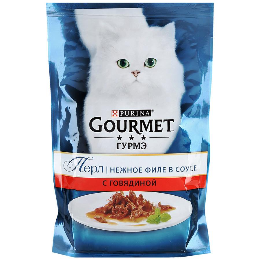 Gourmet Perle Влажный корм для кошек со вкусом Говядина в соусе