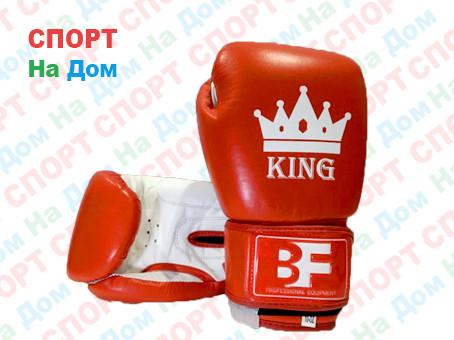 Боксерские перчатки KING кожа (красный)