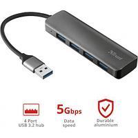 Разветвитель Trust Halyx Aluminium 4 PORT USB 3.2 HUB