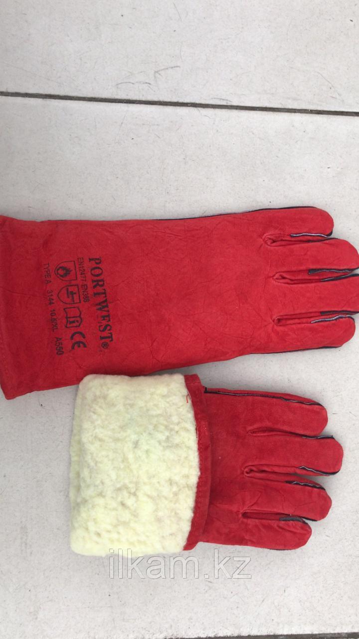 Краги зимние красные утеплённые