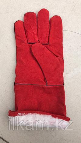 Краги зимние красные утеплённые, фото 2
