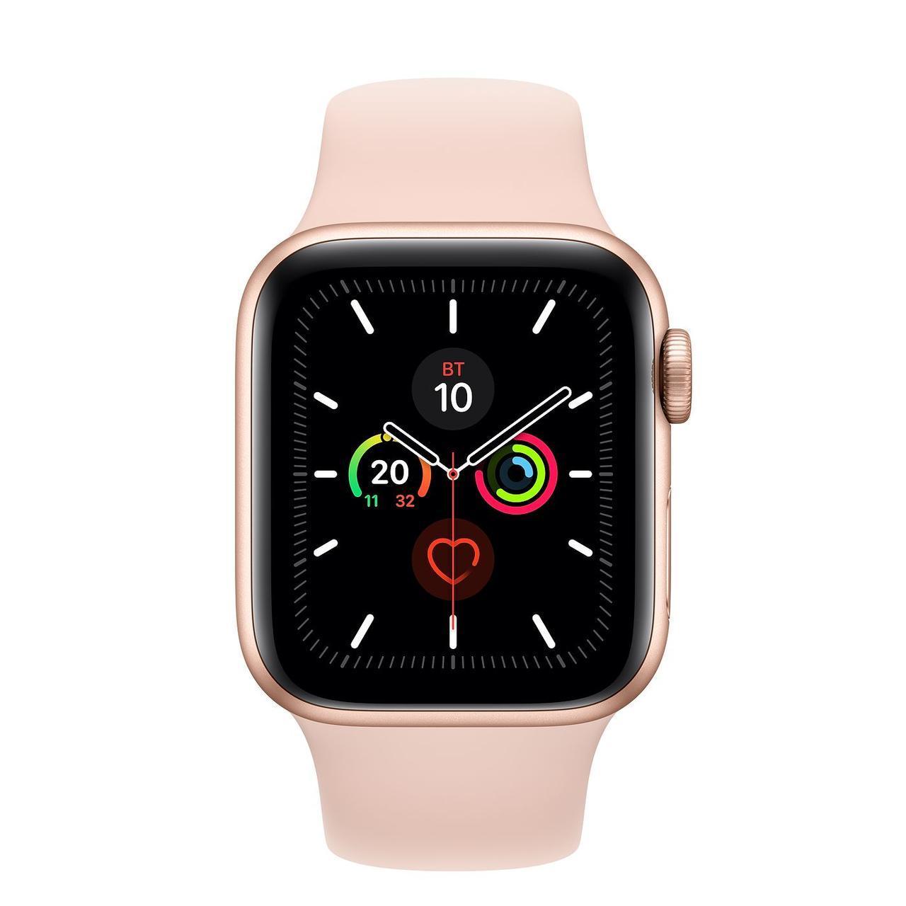 Apple Watch Series 5, 44 мм, корпус из алюминия золотого цвета, спортивный браслет цвета «розовый песок»