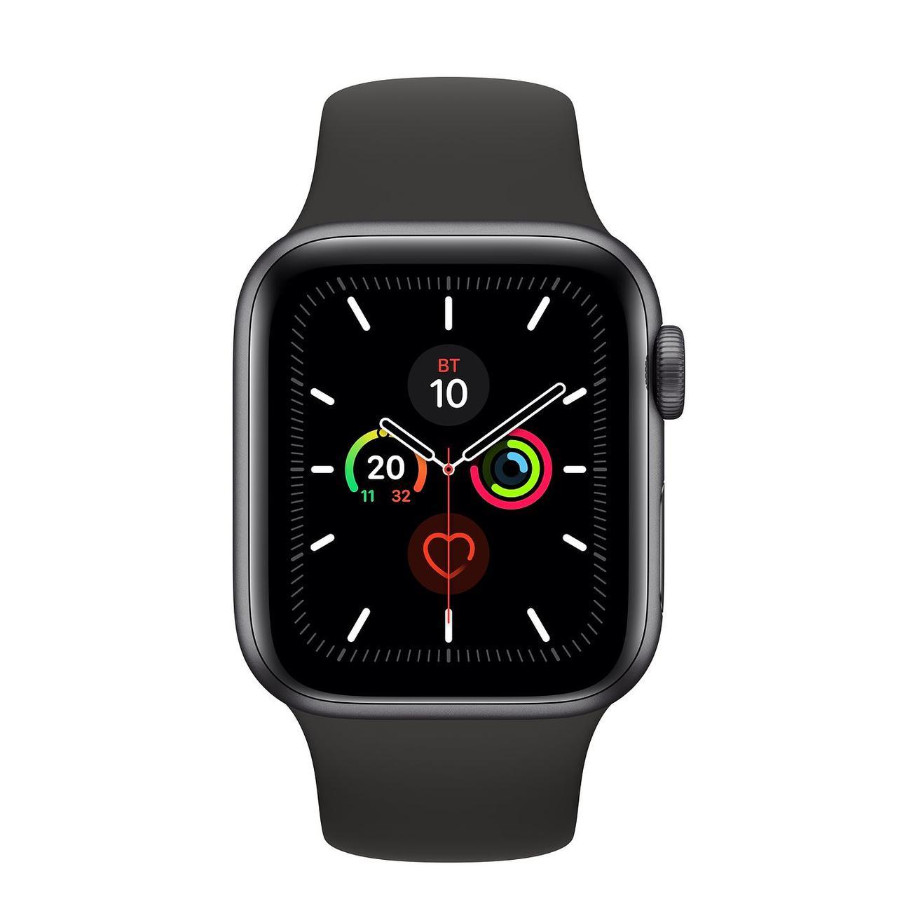 Apple Watch Series 5, 40 мм, корпус из алюминия цвета «серый космос», спортивный браслет чёрного цвета