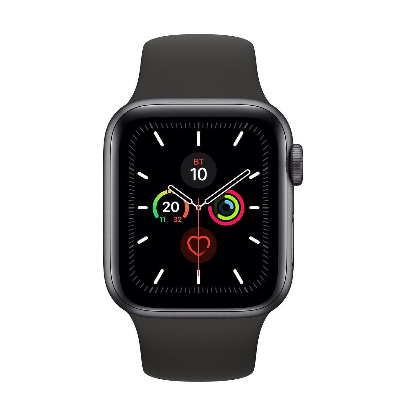 Apple Watch Series 5, 44 мм, корпус из алюминия цвета «серый космос», спортивный браслет чёрного цвета