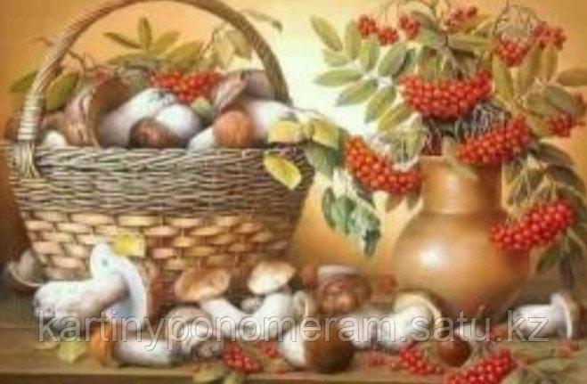 """Картина по номерам """"Корзина с грибами и рябиной"""""""