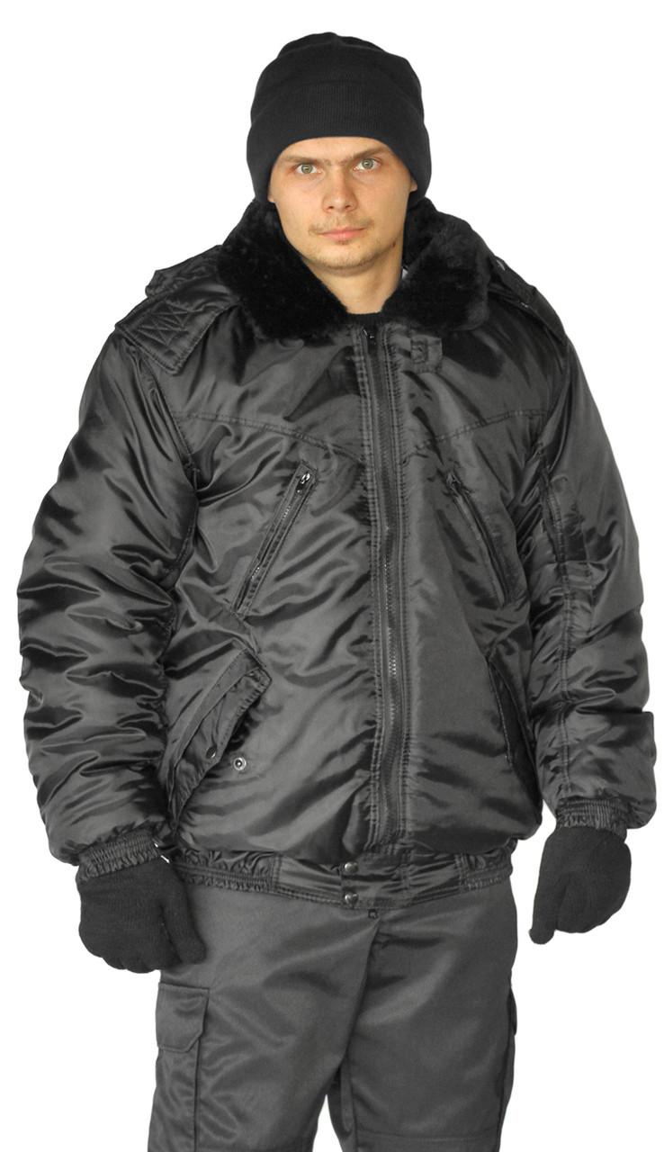 Куртка охранника мужская зимняя с капюшоном