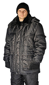 Черная мужская зимняя куртка охранника