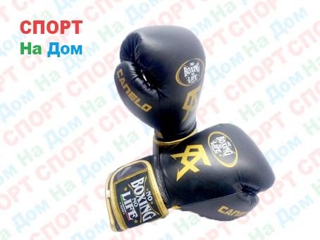 Боксерские перчатки No Boxing No Life Canelo кожа (цвет черный) 12,14,16OZ
