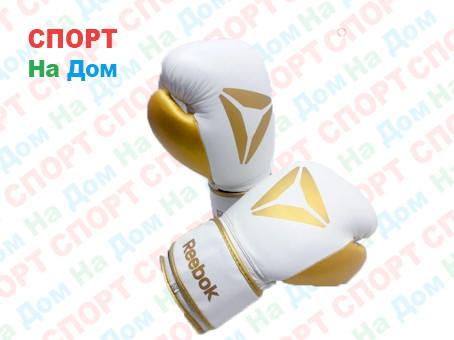 Боксерские перчатки Reebok кожа (цвет белый, золото) 12,14,16OZ