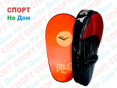 Лапы для бокса, каратэ, таэквондо Everlast кожа (цвет черный, красный), фото 2