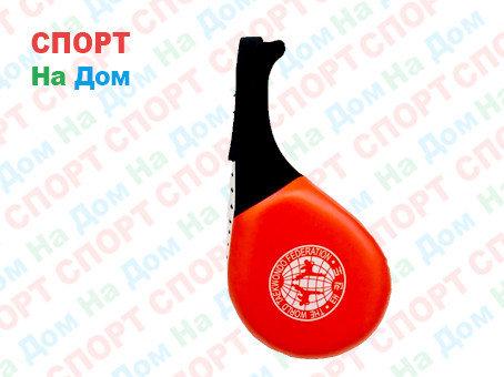 Лапы для бокса, каратэ, таэквондо кожа, ручка замша (цвет красный, черный), фото 2