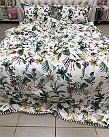 Комплект постельного белья из египетского хлопка с утеплённым одеялом и растительным принтом